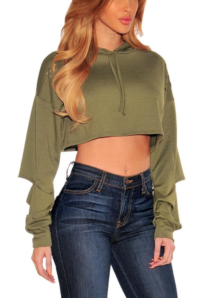 ec643f7486d0 Olive Green Ripped Hoodie Crop Top