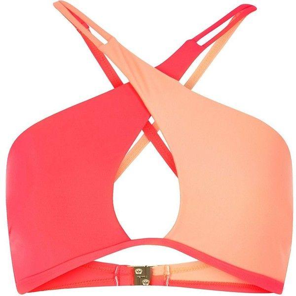 River Island Coral molded halter neck bikini top ($32) ❤ liked on Polyvore featuring swimwear, bikinis, bikini tops, tankini top, halter neck bikini, halter top, halter bikini and color block bikini top