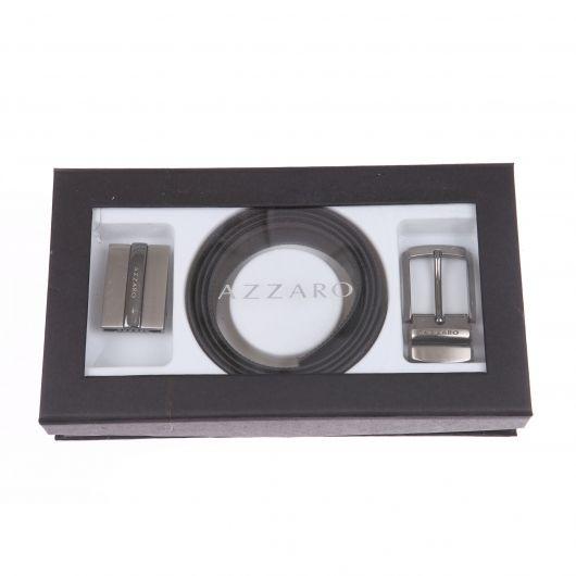 07061e32428 Coffret cadeau   ceinture Azzaro ajustable en cuir noir réversible à deux  boucles interchangeables