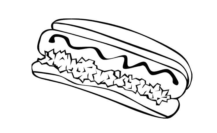 Junk Food Hot Dog Coloring Page