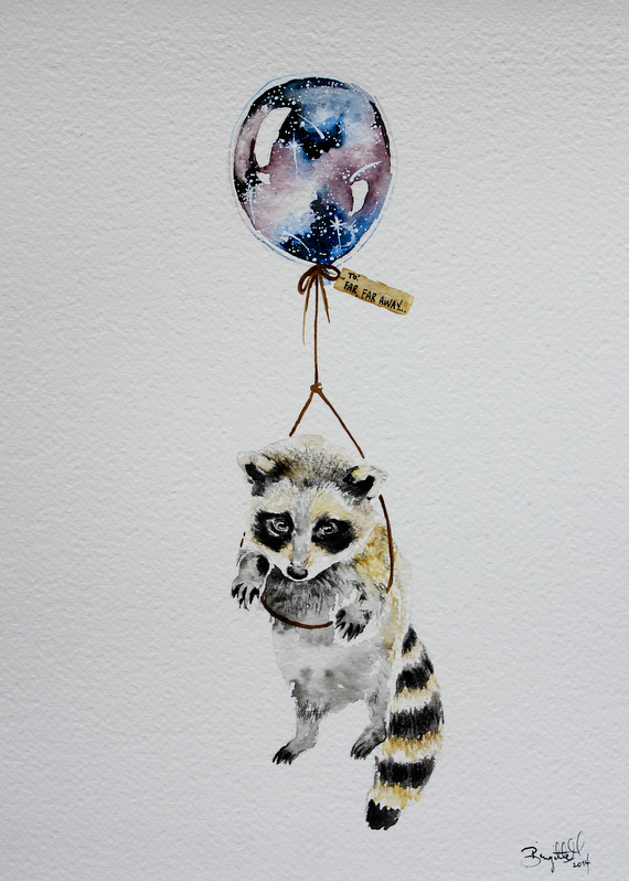 Raccoon And Squirrel Holding Hands Attached To Balloons