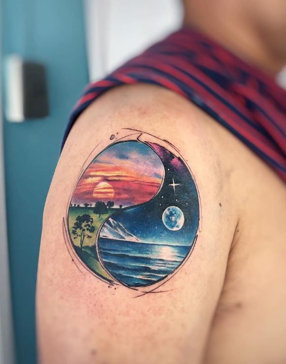 9bc5964be Day and Night Tattoo | Awesome Tattoos | Night tattoo, Watercolor ...