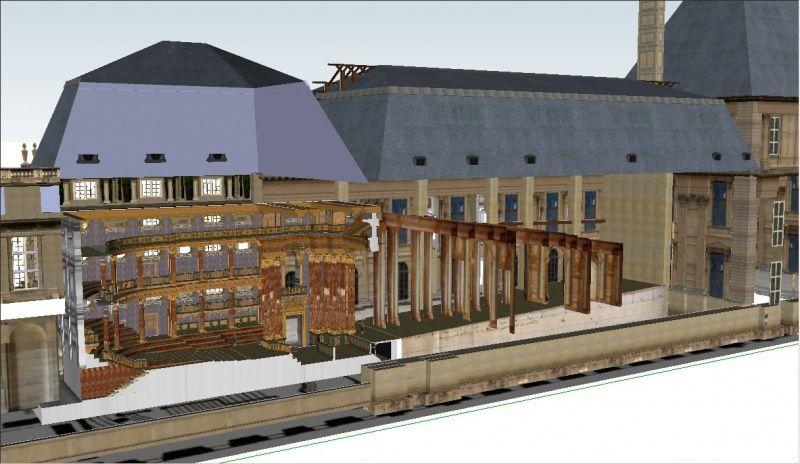 th tre salle des machines du palais des tuileries section et repr sentation en 3d vue du. Black Bedroom Furniture Sets. Home Design Ideas