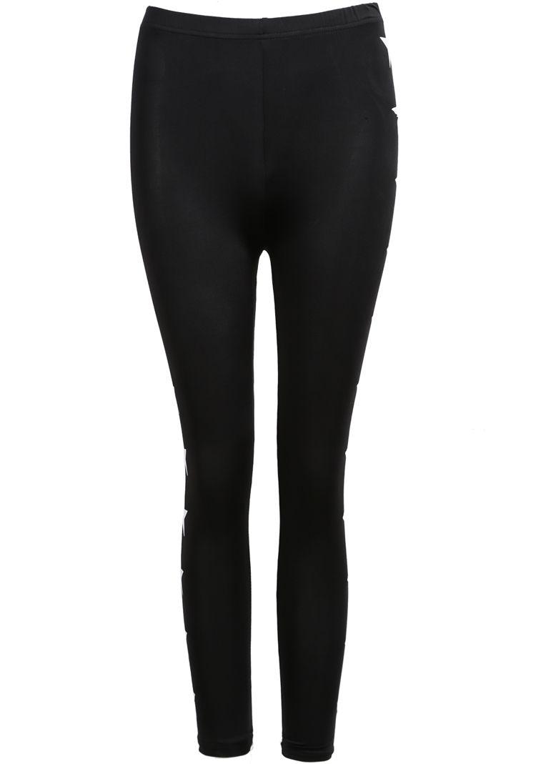 Black Slim Stars Print Leggings - Sheinside.com