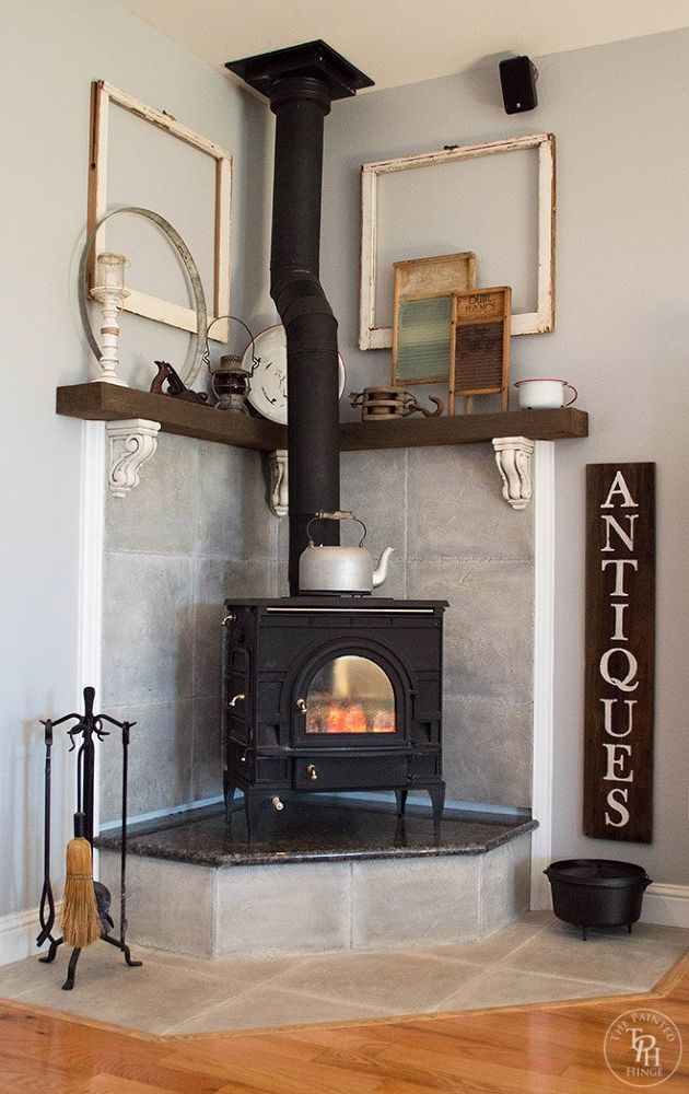 Corner Fireplace Mantel Makeover Corner Wood Stove Wood Burning Stove Corner Freestanding Fireplace