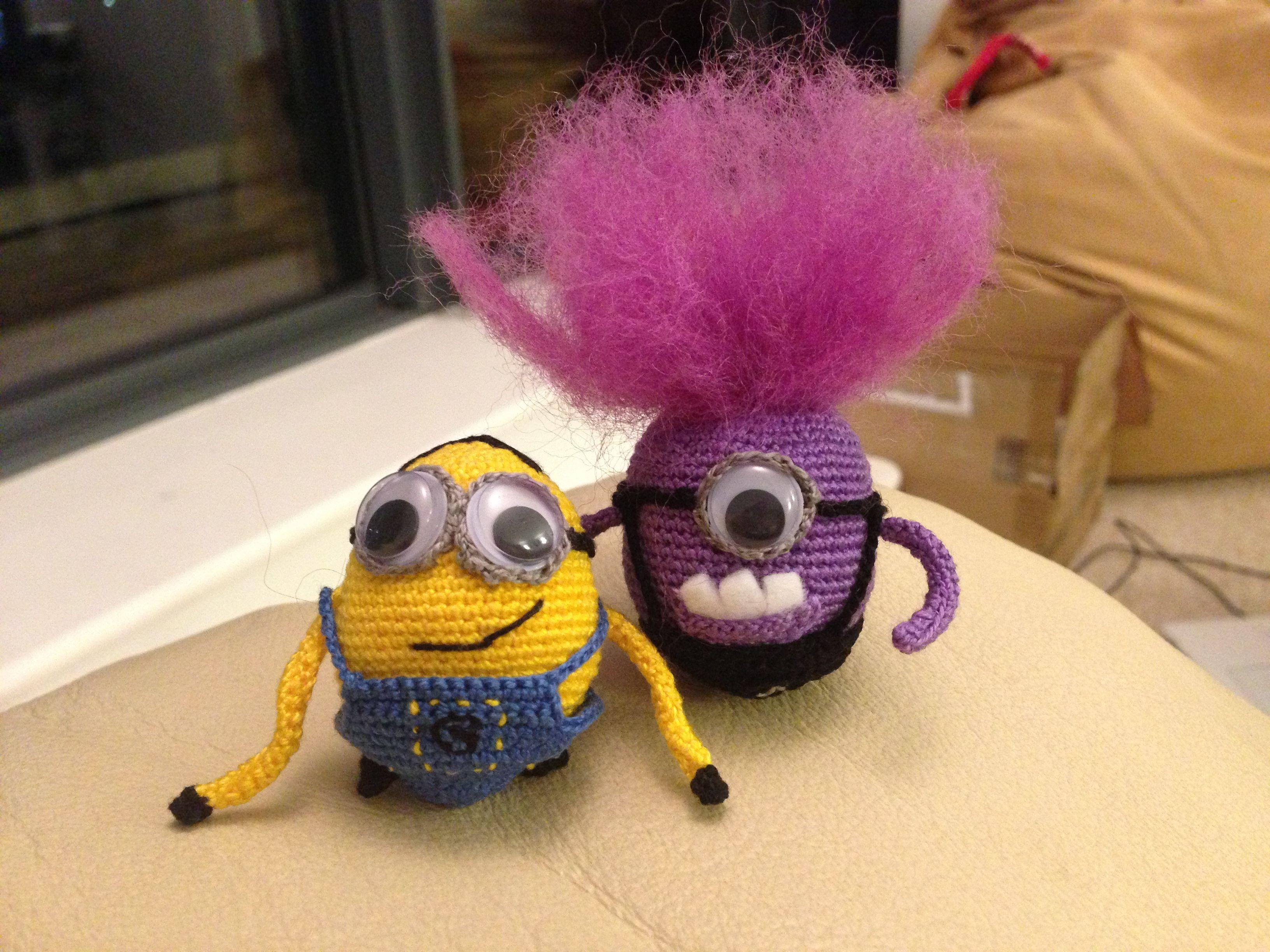 Crochet mini amigurumi yellow and purple minions from Despicable Me ...