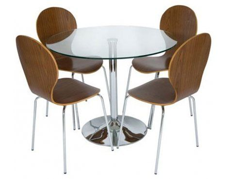 LEVV Roma medium wood and clear glass round dining set The Plasma