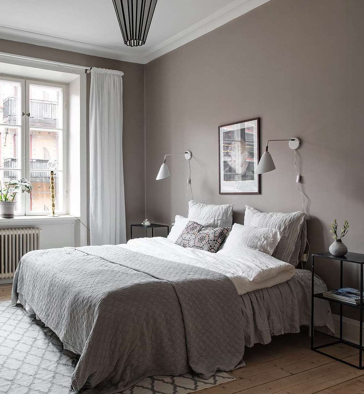 Bedroom in warm grey - COCO LAPINE DESIGN  Warm grey walls, Gray