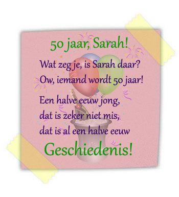 Verjaardagswens Voor Een Jarige Sarah Een Halve Eeuw Jong