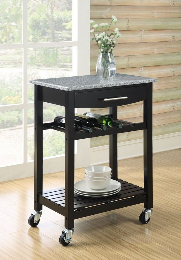 Granite Top Kitchen Cart Island Storage Microwave Stand Utility Unit Rolling New