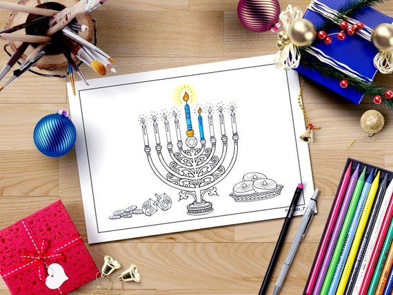 Hanukkah Coloring Page Jewish Star Menorah Hanukkah Blessings