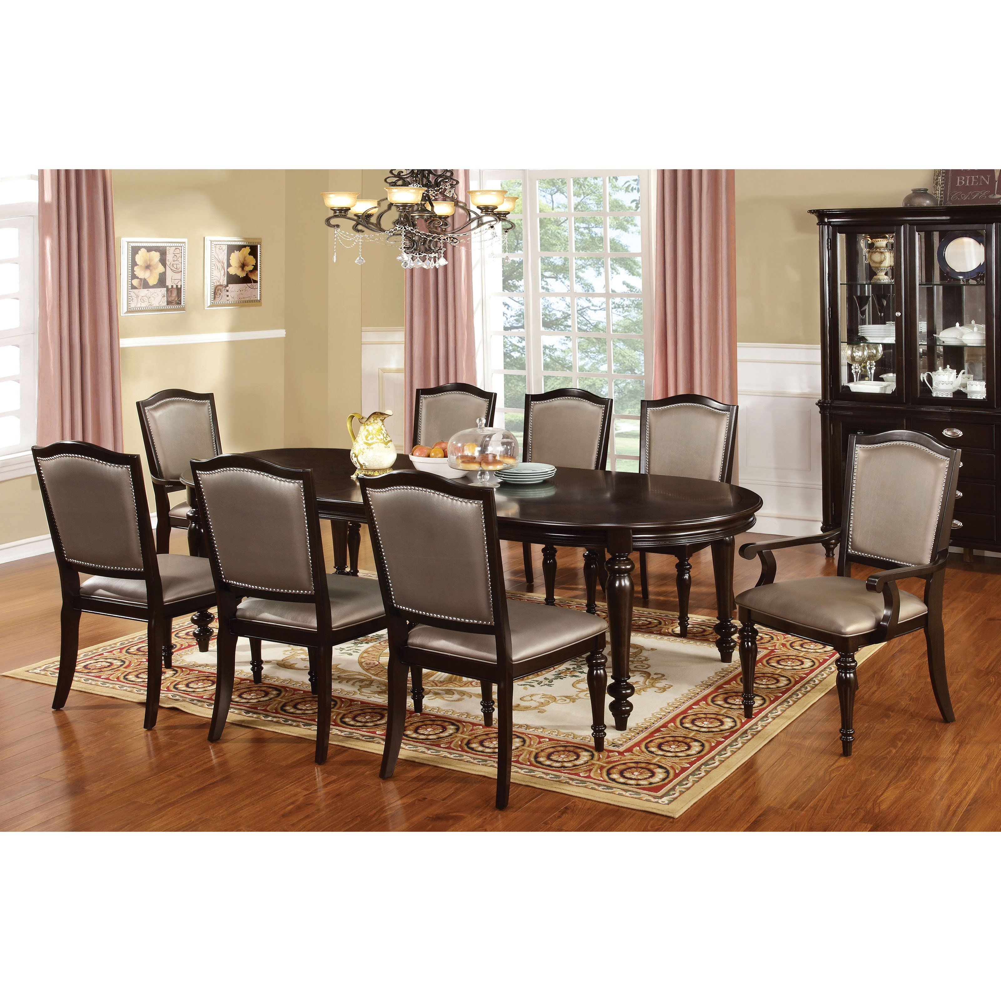 Furniture Of America Lucia 9 Piece Formal Dining Table Idf 3970t Gl 9pc