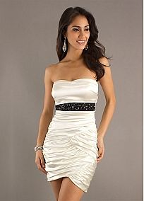 Fabulous Stretch Satin Sheath Strapless Short Homecoming Dress With Beads
