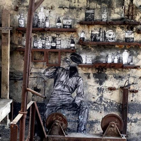 "Levalet, "" Le secret de Stakhanov"" for Urban art biennale in Voelklinger Huette, Saarbrucken, Germany, 2017, detail"