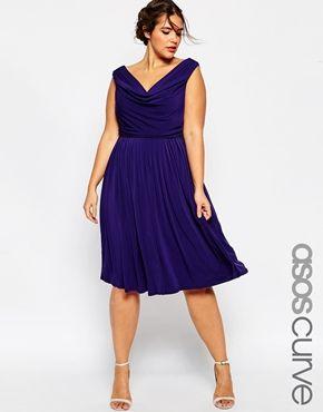 Asos Curve Wedding Drape Cowl Neck Pleated Midi Dress Navy Plus Size Dresses