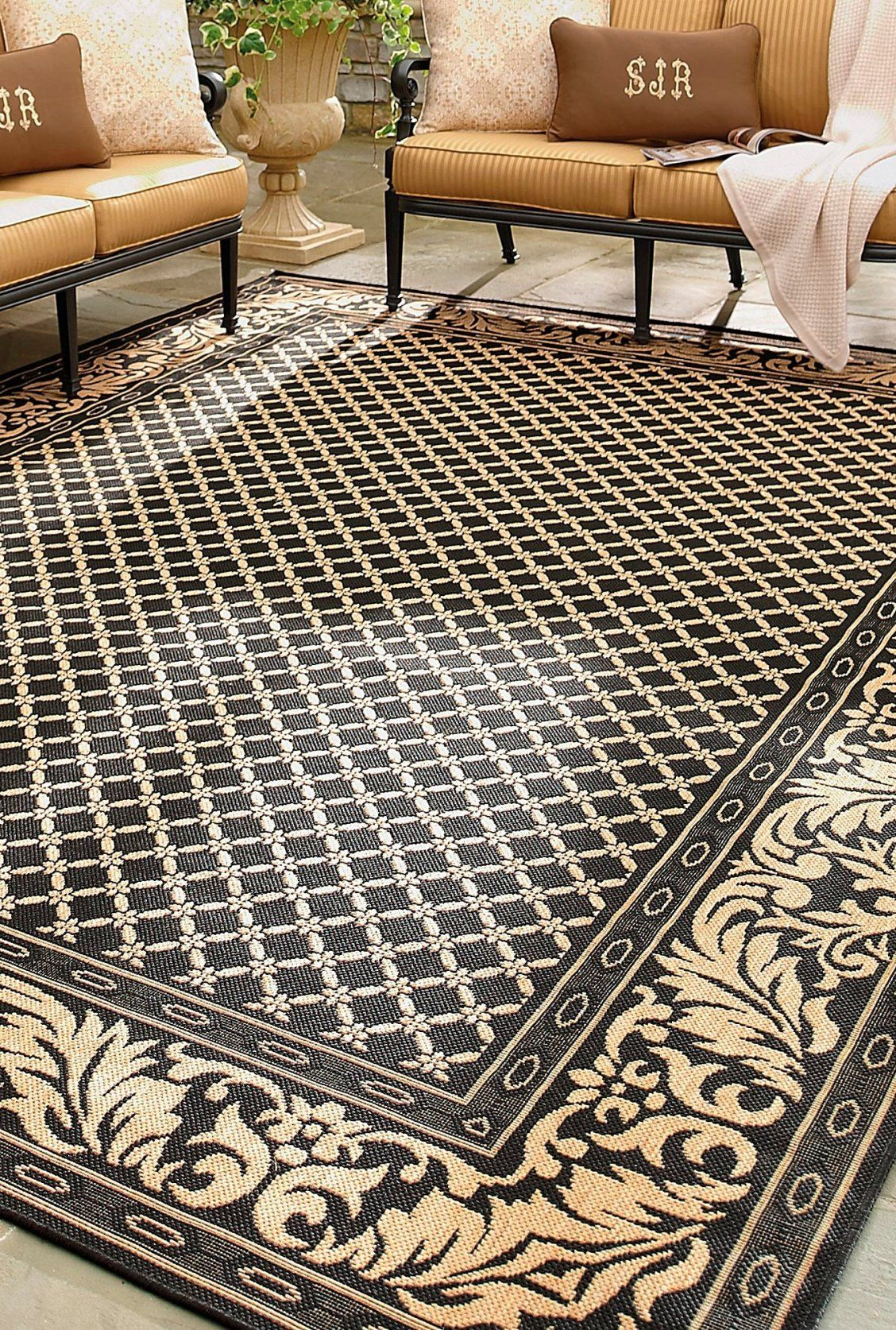 Beige And Ivory Woven Diamond Indoor Outdoor Rug With Images