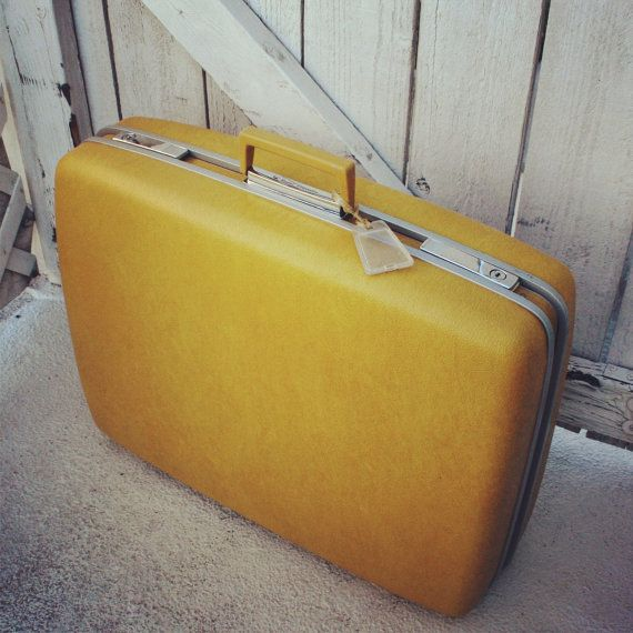 Vintage Yellow Gold Suitcase by Samsonite- Royal Traveller ...