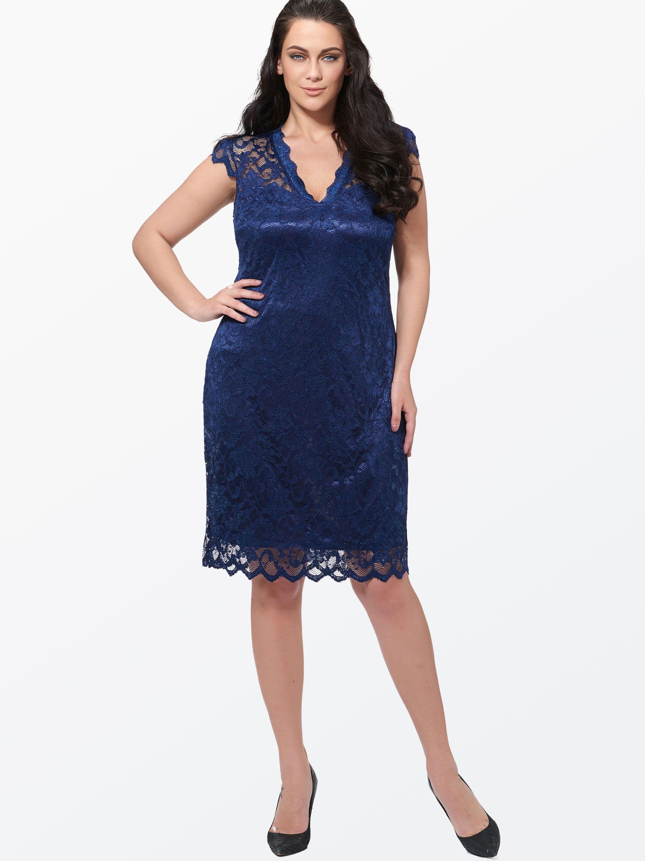 Plain V Neck Lace Plus Size Women\'s Day Dress | Women\'s ...