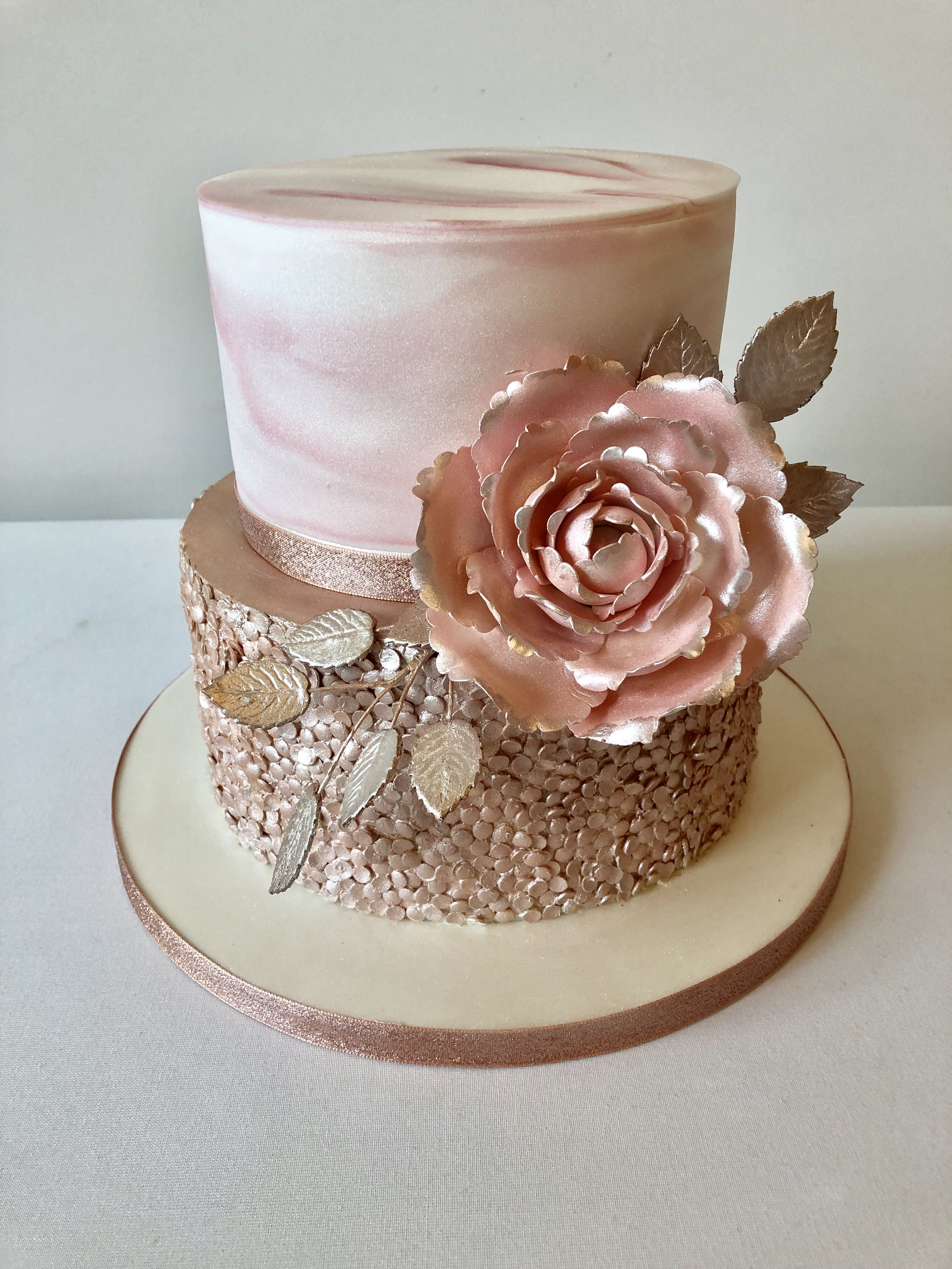 Incredible Beautiful Textured Rose Gold Marble And Sequin Wedding Cake Personalised Birthday Cards Veneteletsinfo