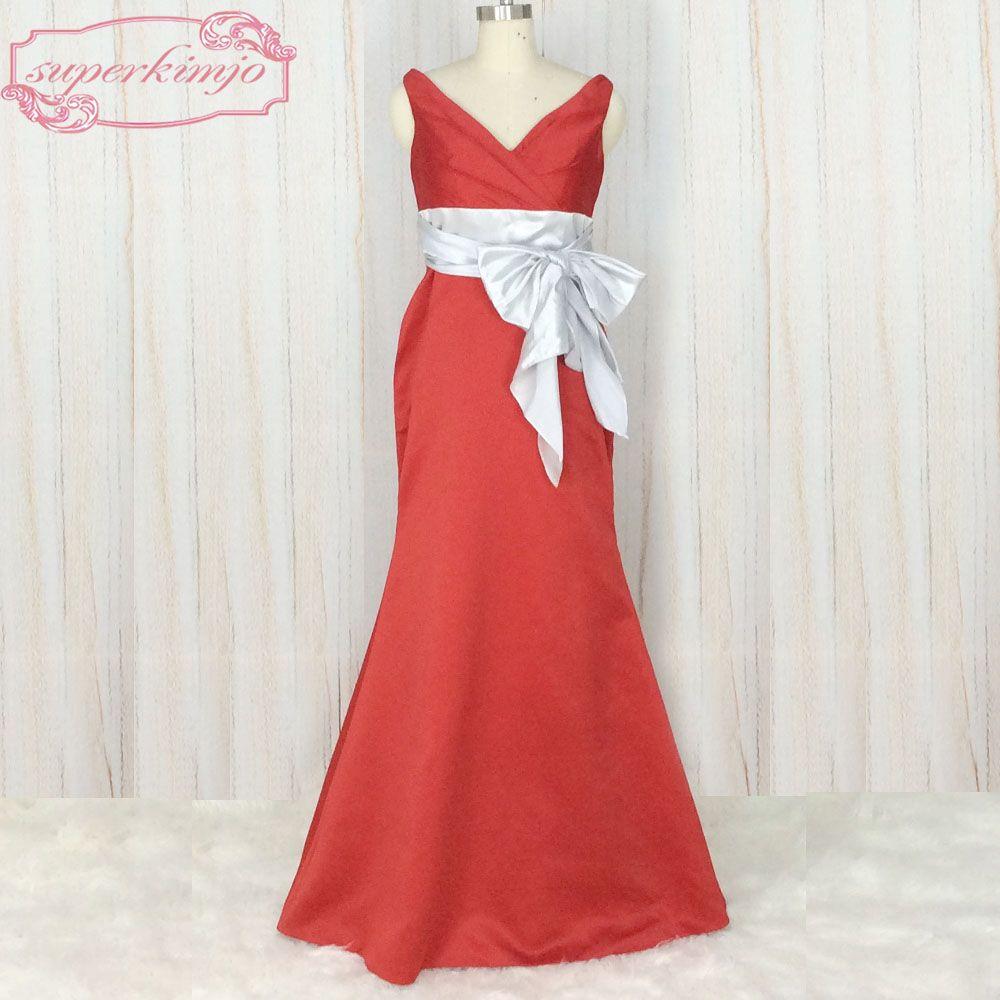 Superkimjo wedding guest dresses modest v neck red bridesmaid