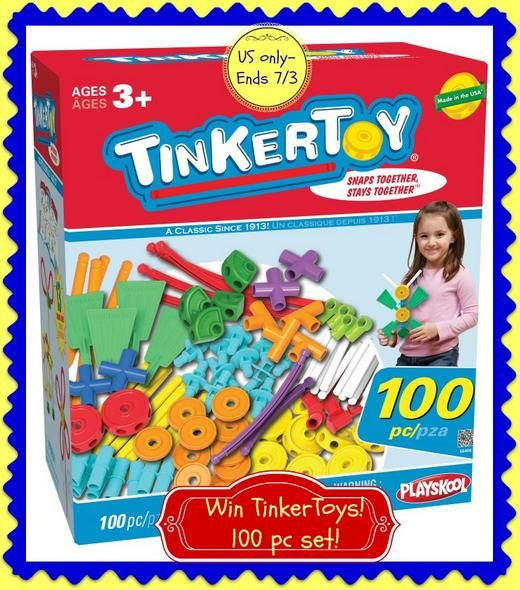 Kid Krazed is joining in the giveaway Sponsored by K'NEX and hosted by Mom Does Reviews TINKERTOY: 100 Piece Essentials Building Set I remember Tinkertoys from my childhood. They were one of my favorite things to play and build with! You can create and occupy a lot of time with this ageless box of Tinkertoys! [...]