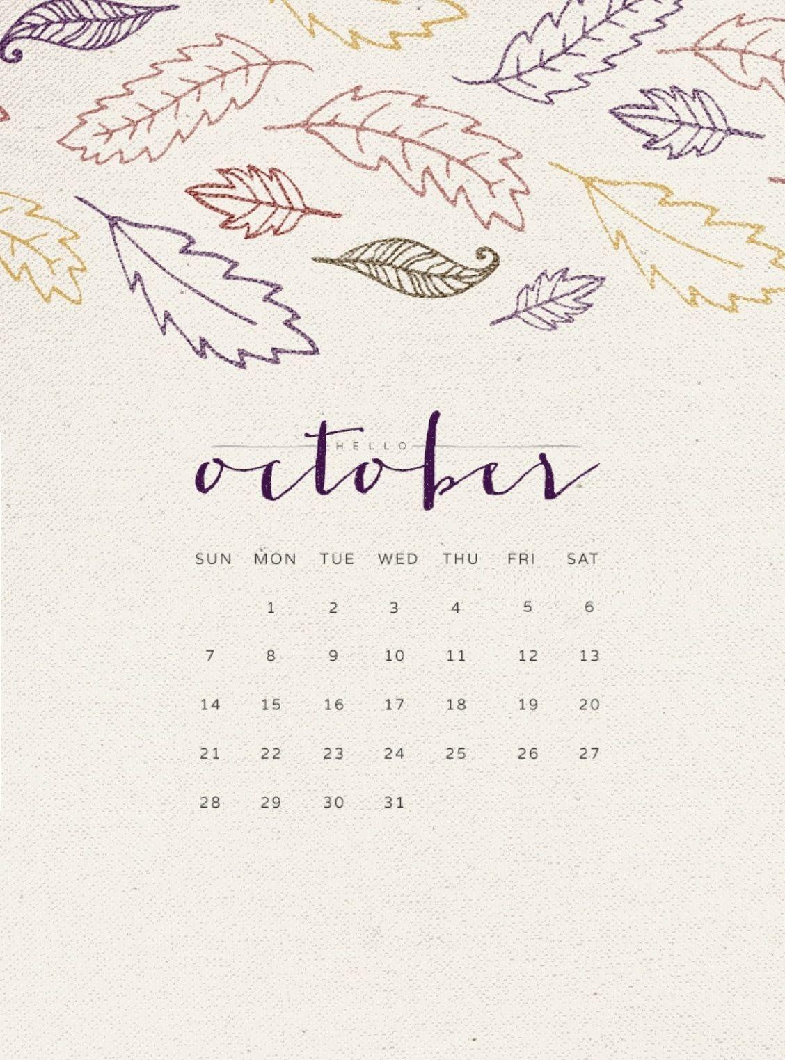 Hello October 2018 Calendar Wallpapers