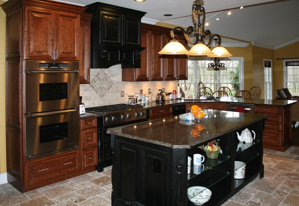 Cherry And Black Kitchen Cabinets With Travertine Tile Floor Tags