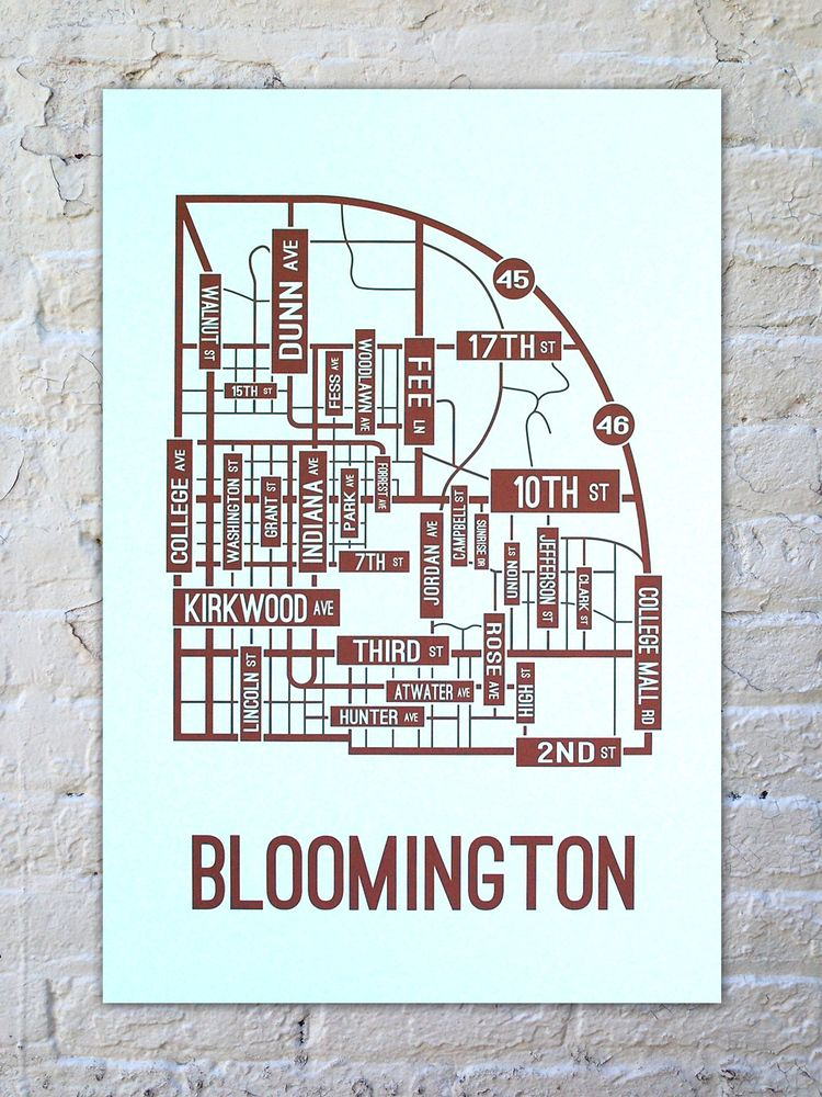 bloomington indiana street map poster school street posters