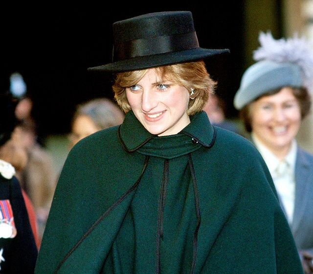 On November 12, 1981, Diana, Princess of Wales visited Chesterfield, a borough of Derbyshire, England. She wore a green cape and matching hat.