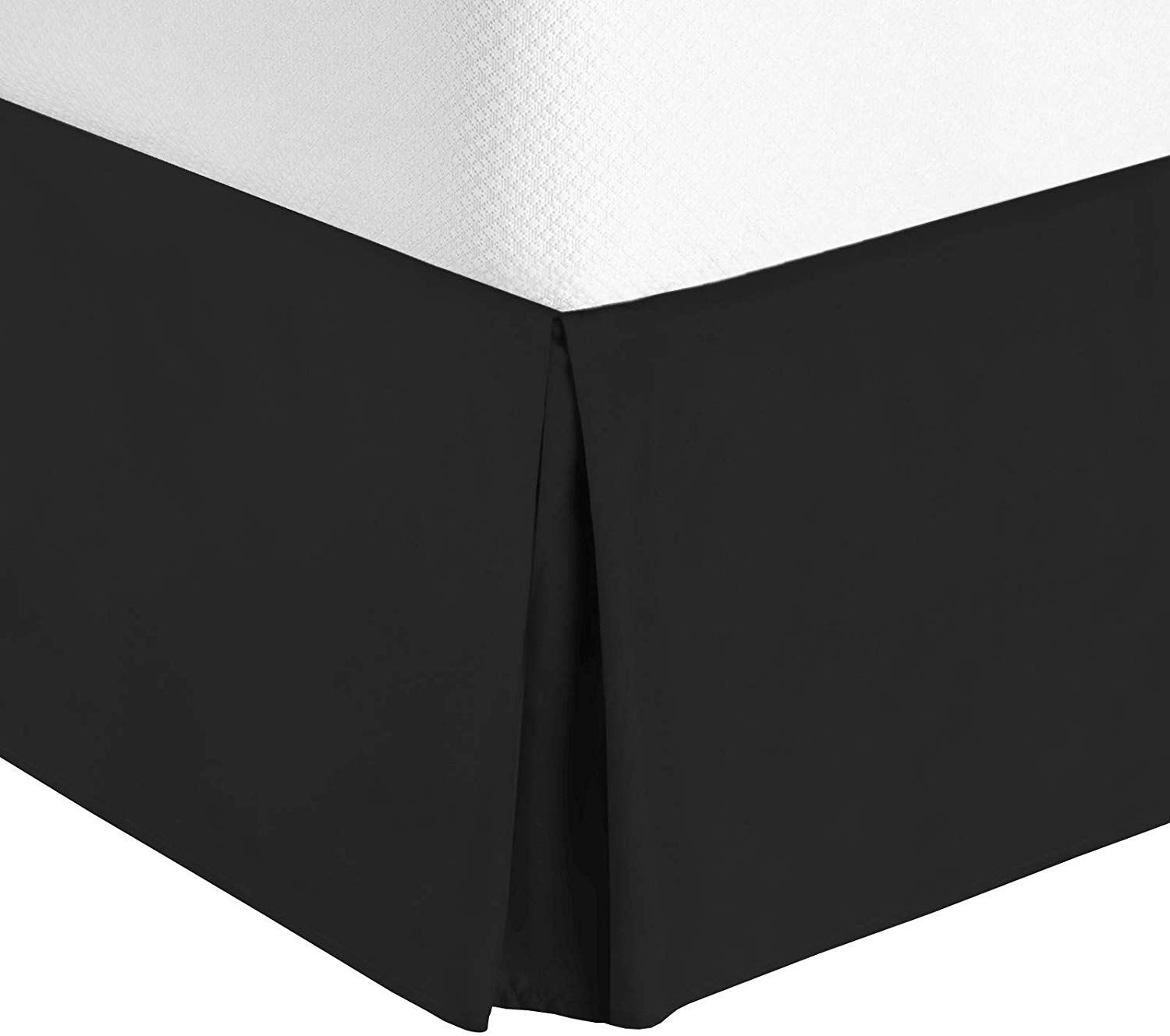 15 Inch Skirt Length Luxury Brushed Microfiber Dust Ruffle,Wrinkle and Fade Resistant Solid COSYJOY Pleated Bed Skirt Black, King