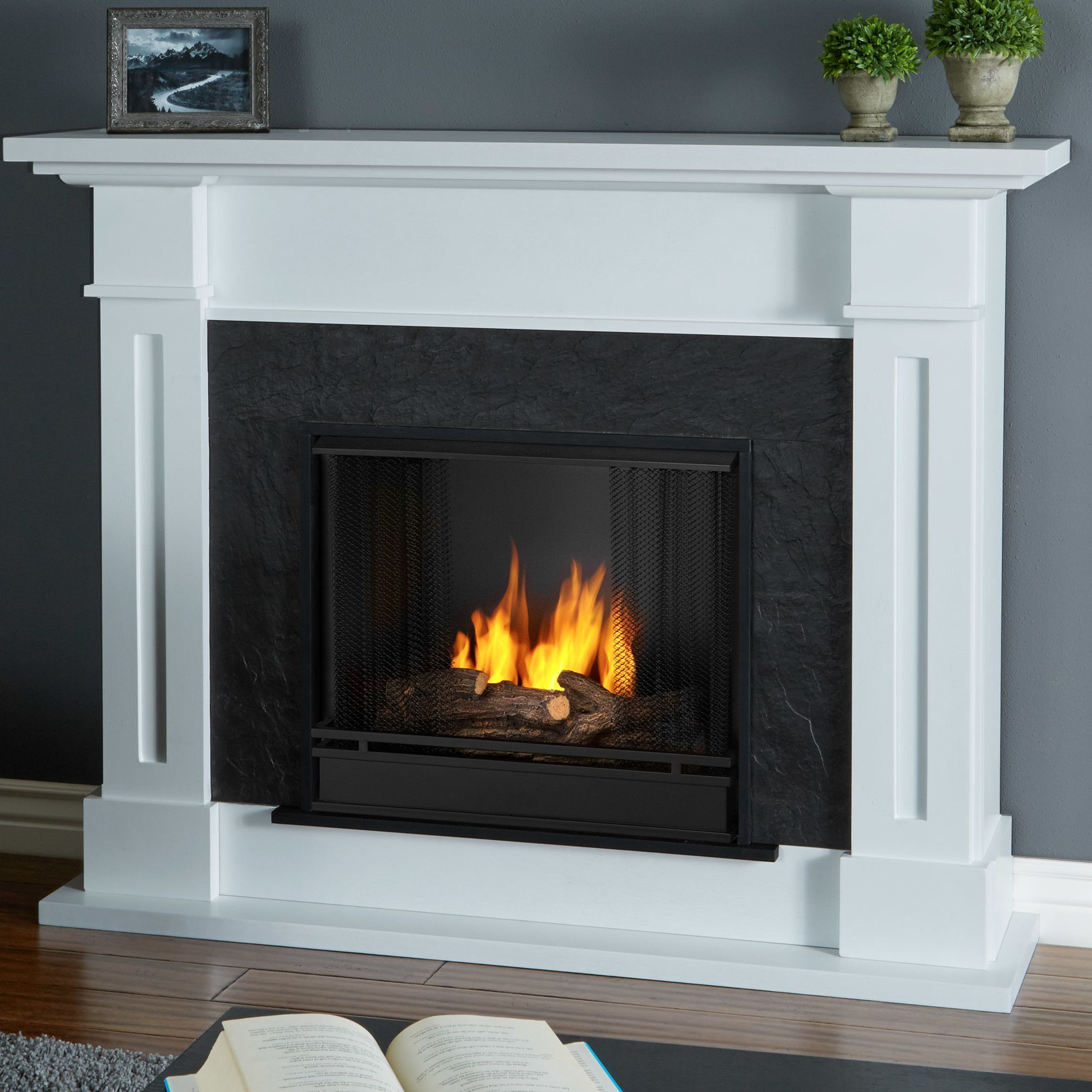 Features Includes Mantel Firebox