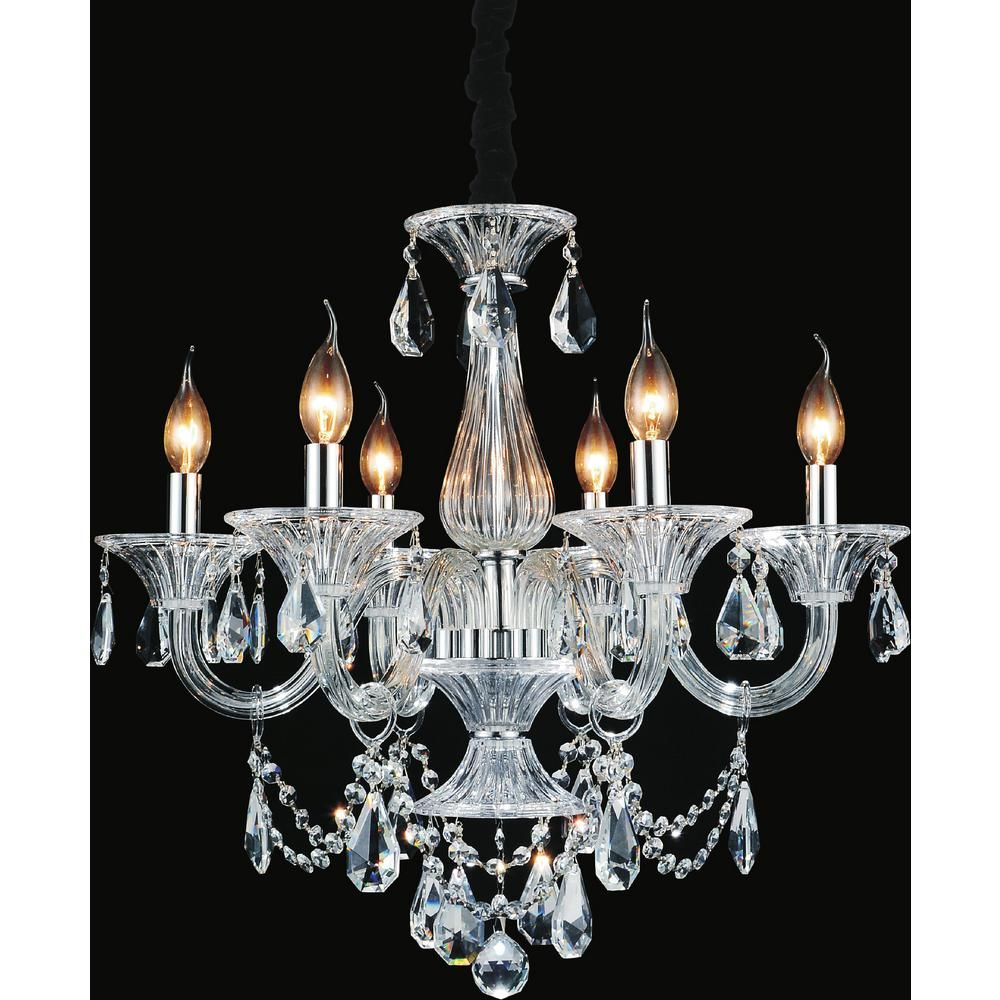 Cwi Lighting Lexis 6 Light Chrome Chandelier 8400p24c 6 With