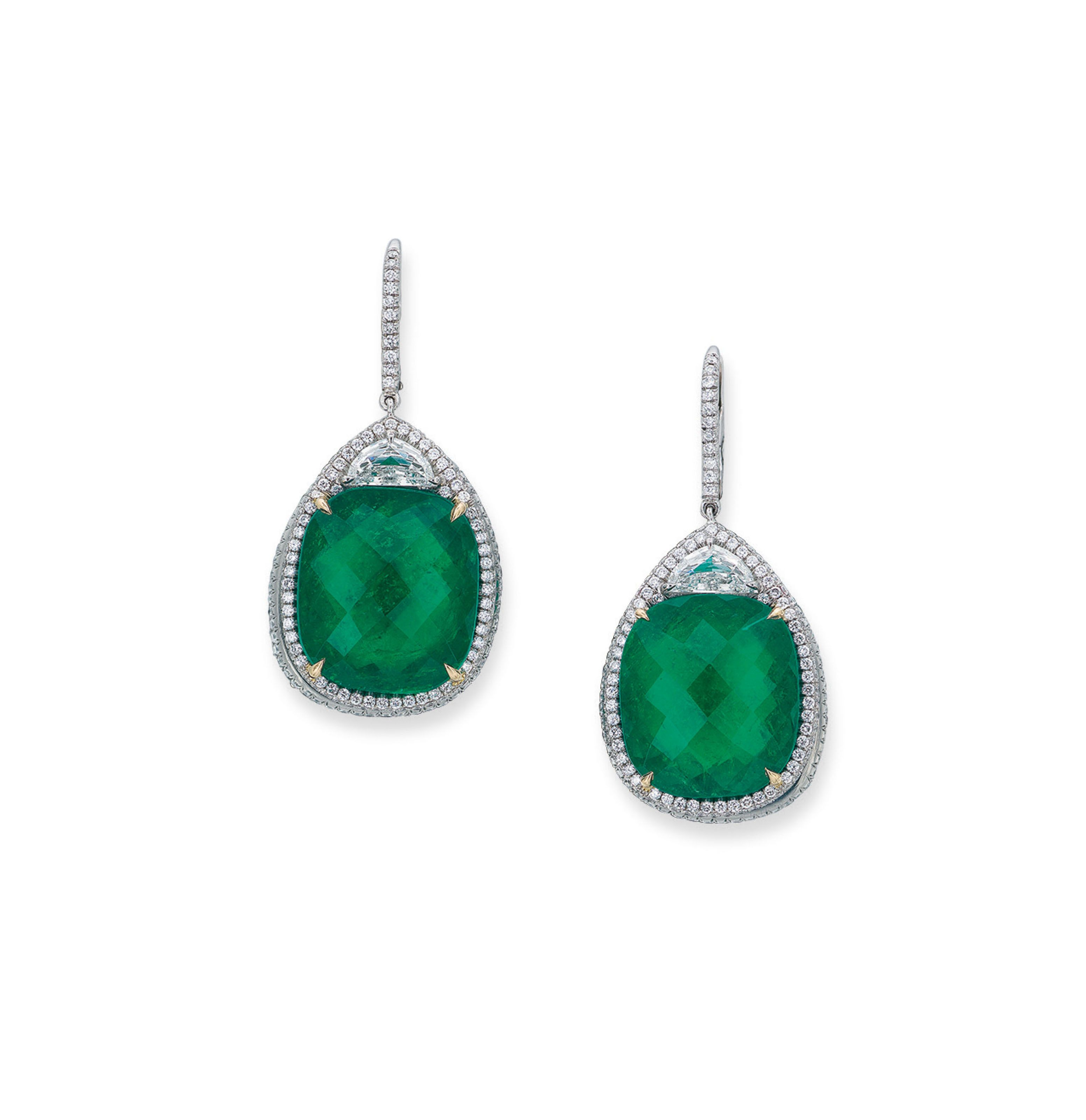 A pair of emerald and diamond ear pendants each dropshaped pendant