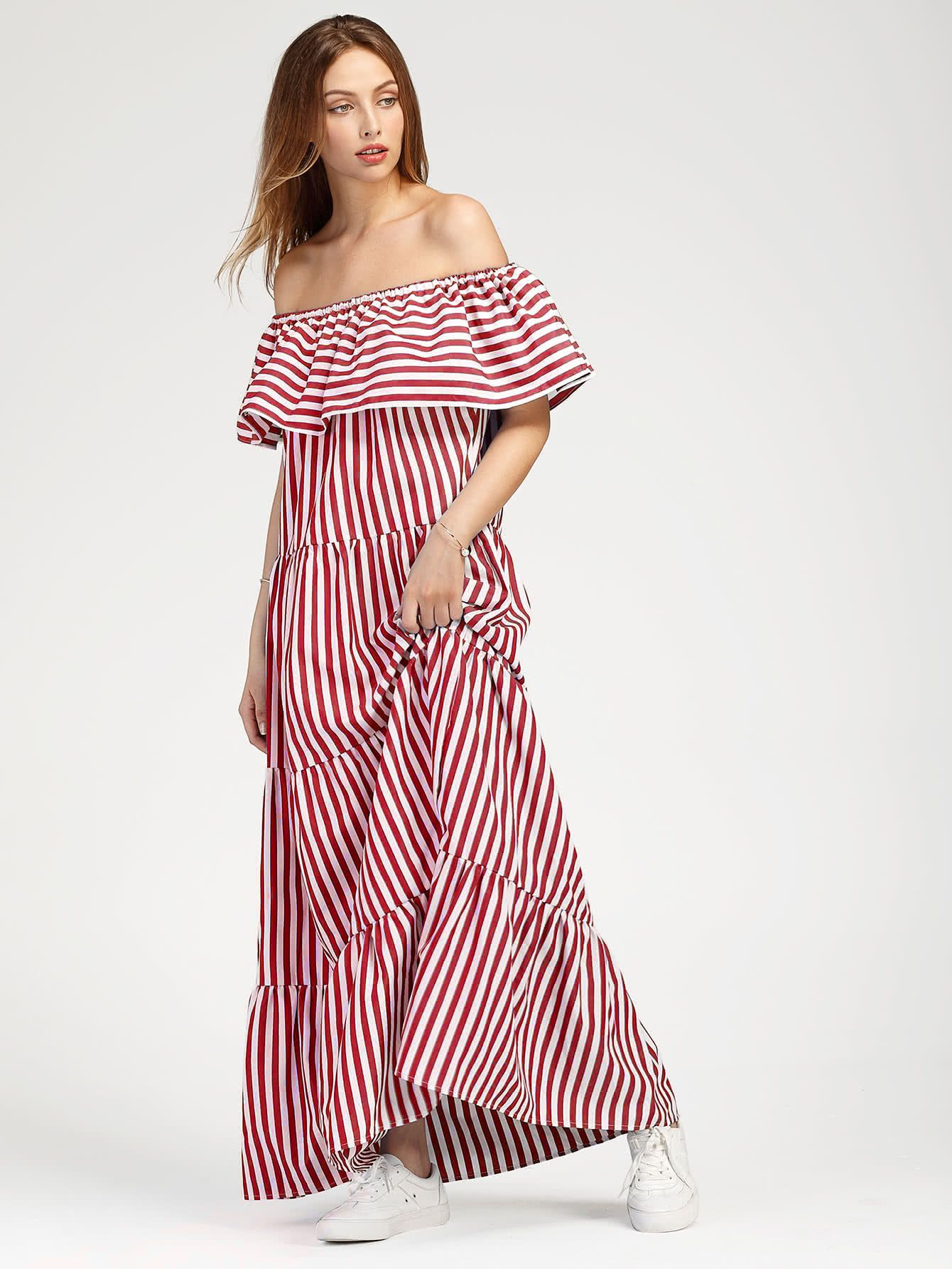 Shop Contrast Striped Flounce Layered Tiered Peasant Dress Online Shein Offers Contrast Striped Flounce Layered Womens Dresses Casual Day Dresses Tiered Dress [ 1785 x 1340 Pixel ]