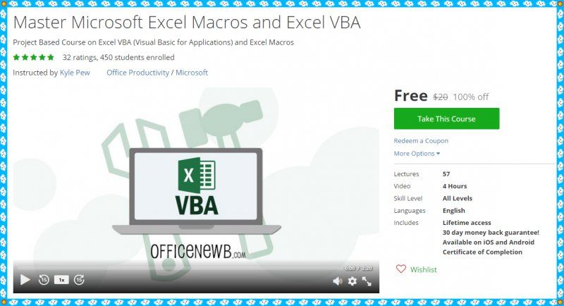 100% Free Udemy Course] Master Microsoft Excel Macros and Excel VBA ...