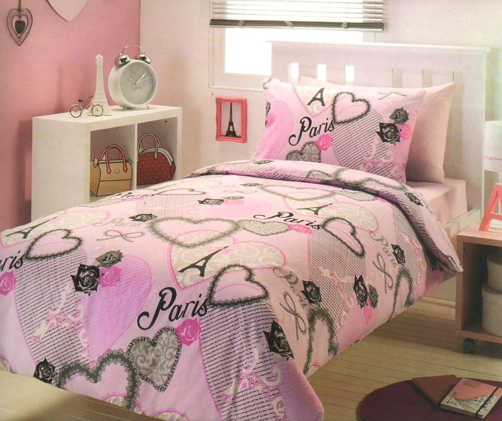 PARIS CHIC I Love Paris Eiffel Tower Pink/Black/Grey SINGLE Quilt ...