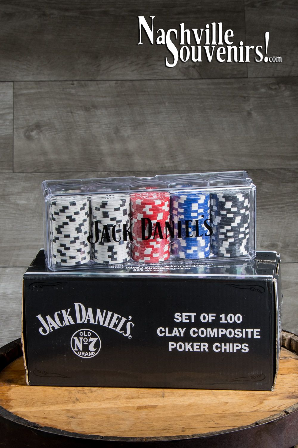 Jack daniels clay poker chips 100 with acrylic case