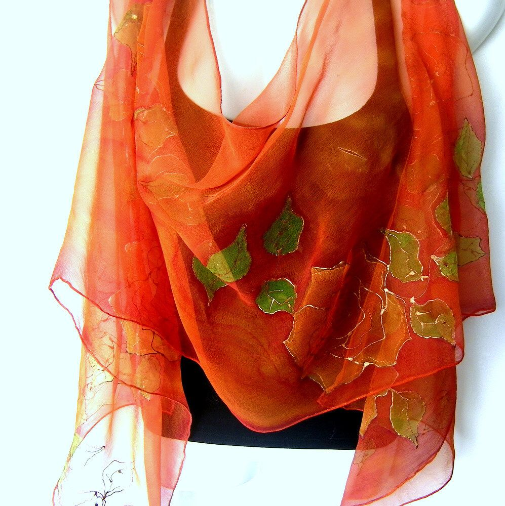 Hand Painted Silk Scarf, Roses, Orange May Green, Floral Silk Chiffon Scarf by silkshop on Etsy https://www.etsy.com/au/listing/180268406/hand-painted-silk-scarf-roses-orange-may