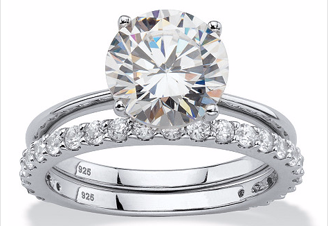 Seta Jewelry 3 50 Tcw Round White Cubic Zirconia 2 Piece Bridal Engagement Ring Set In Platinum O Bridal Engagement Rings Engagement Ring Settings Bridal Rings