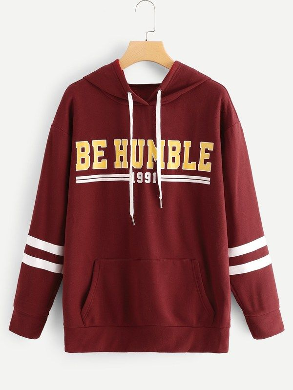 d500d55a30a Large Size Clothing ·  ad Plus Letter Print Varsity Striped Hoodie. Price    19.00. Burgundy Casual Long