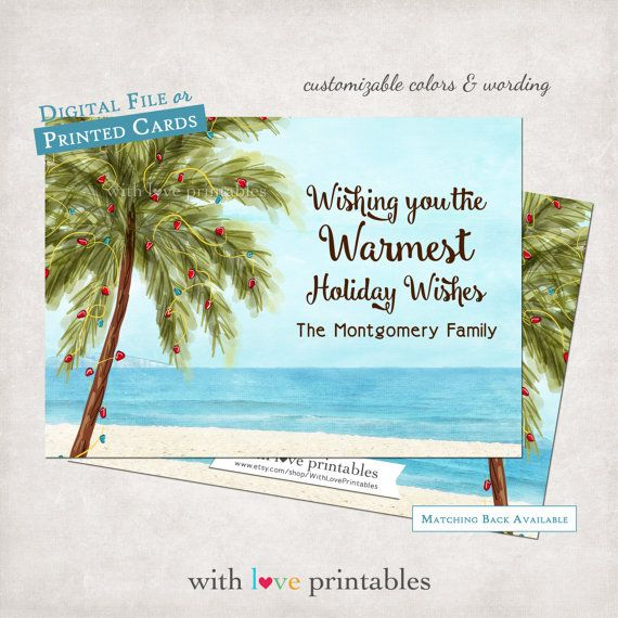 Palm tree lights beach tropical ocean vacation photo holiday christmas greeting card invitation open