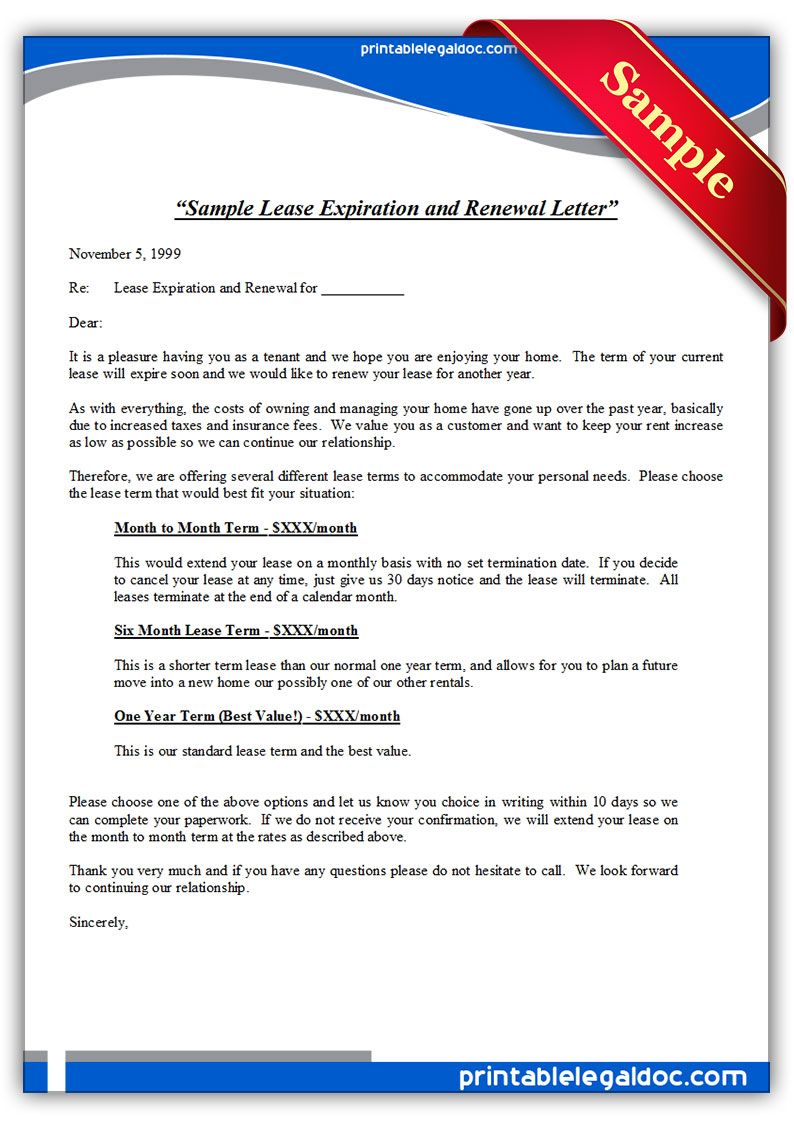 Printable Sample Sample Lease Expiration And Renewal Letter Form Printable Sample Legal Forms
