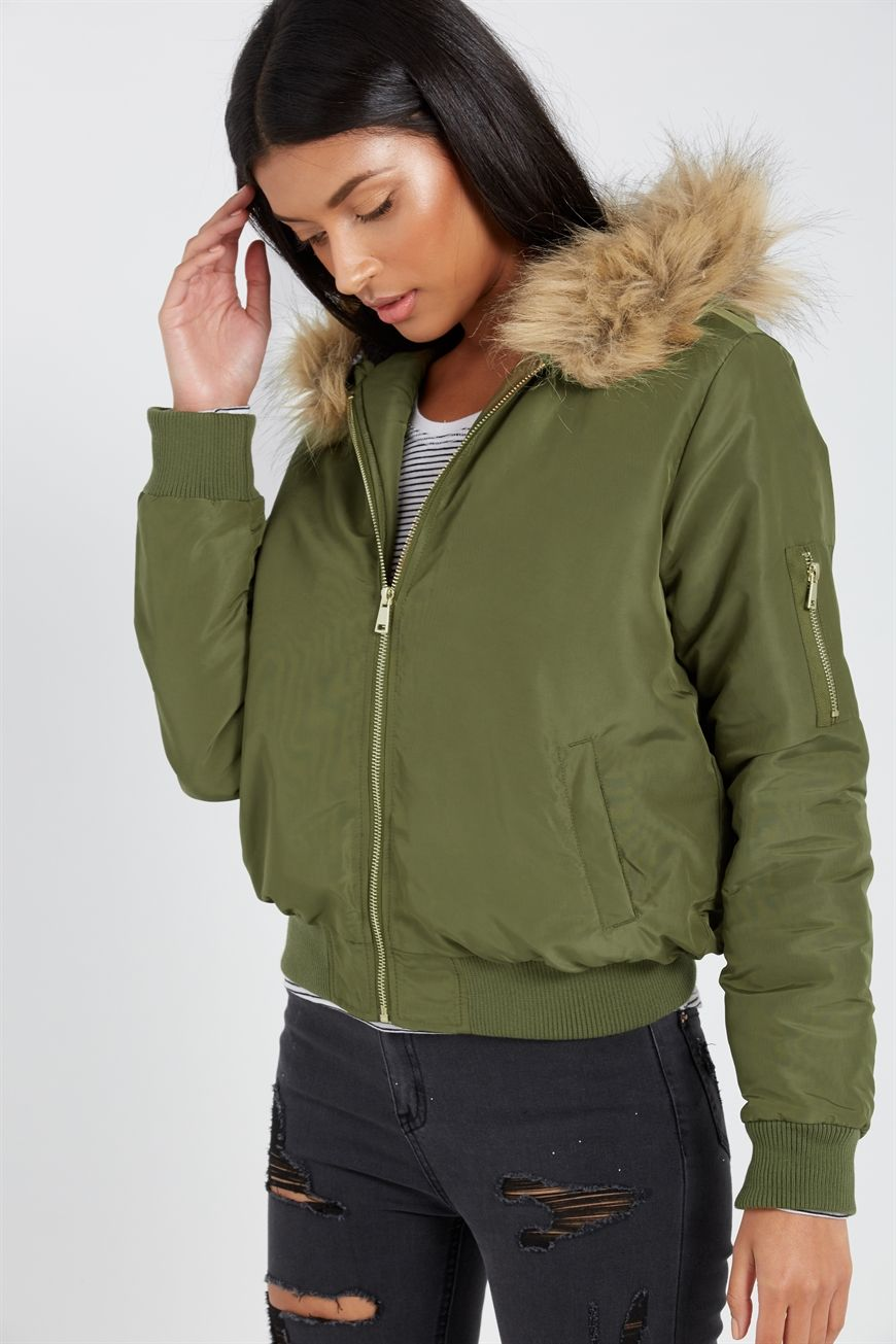 FAUX FUR HOODED BOMBER JACKET Jackets, Hooded bomber