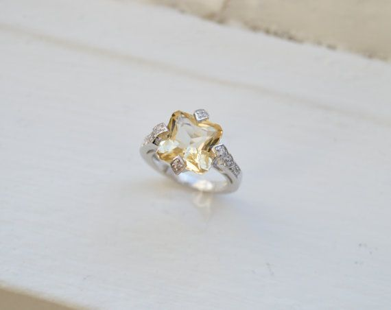 Citrine Ring - Cushion Cut Ring - Sterling Silver Ring ...