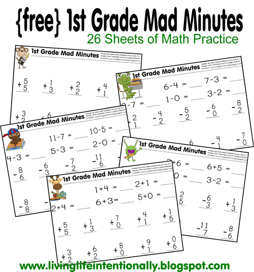 FREE Printable 1st Grade Mad Minute Math Game there is also an – Free Printable First Grade Addition Worksheets