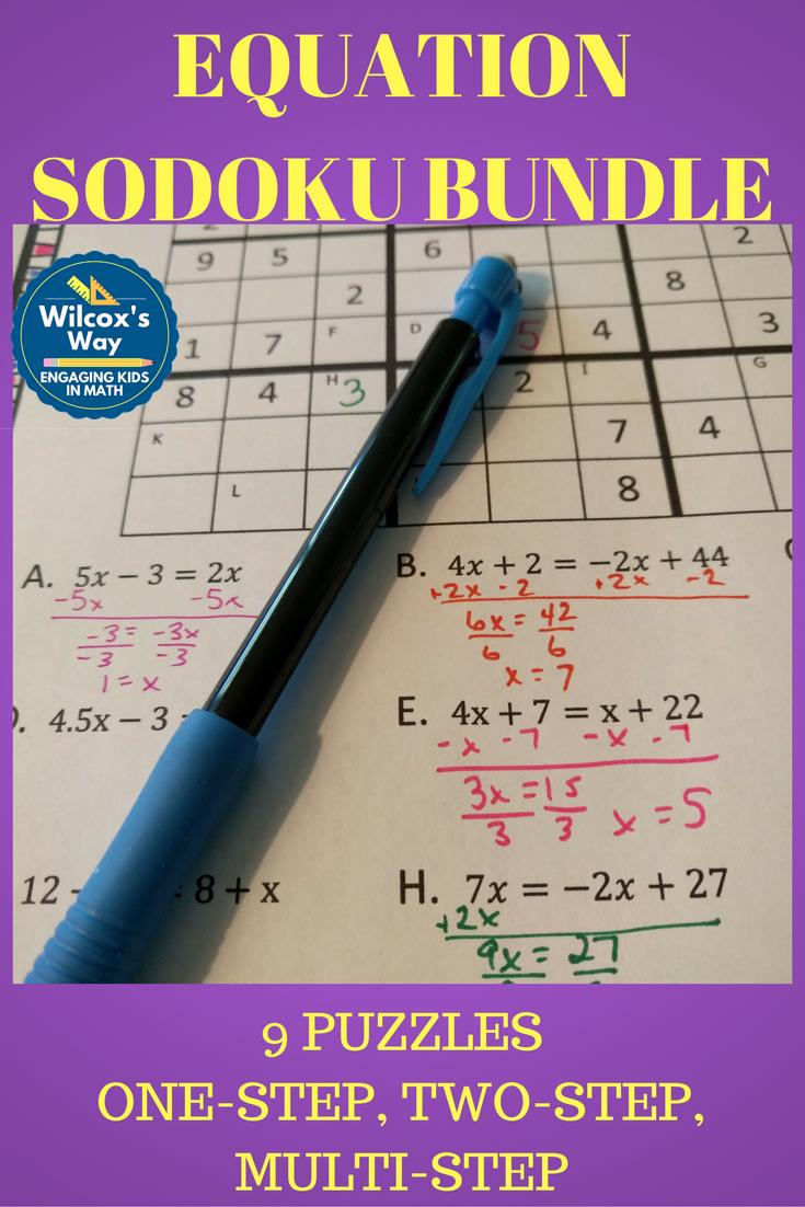 Equation Sudoku Bundle Solving equations, One step
