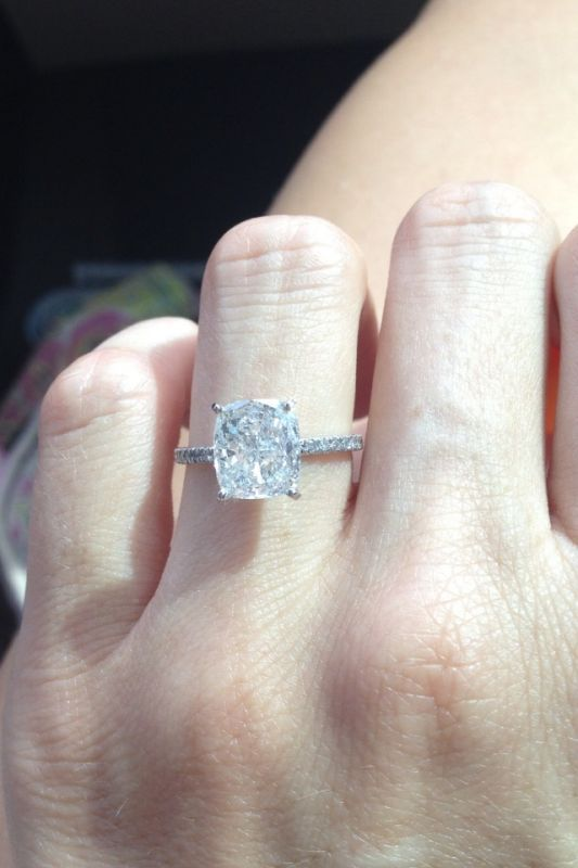 Certified 2.85Ct White Radiant Diamond Solitaire Engagement Ring 14K White  Gold  Bansi  SolitairewithAccents fdd787ffca6