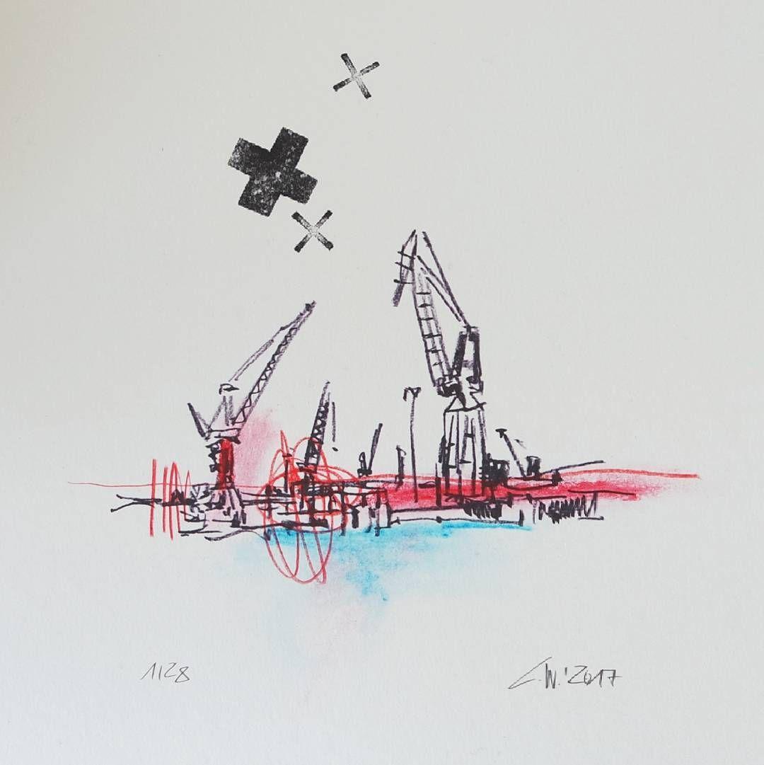 erste zeichnung im neuen jahr | hafenliebe | christian wagner #hamburg #moin #ahoi #hamburg_de #welove_hamburg #welovehh #hamburgahoi #hafen #port #portofhamburg #hamburgportauthority #sketch #art #worldofartists #instasketch #instaart #instagram #kräne #elbe #wasser #postcardsofhamburg #edition28 #pocket_creative #pocket_family