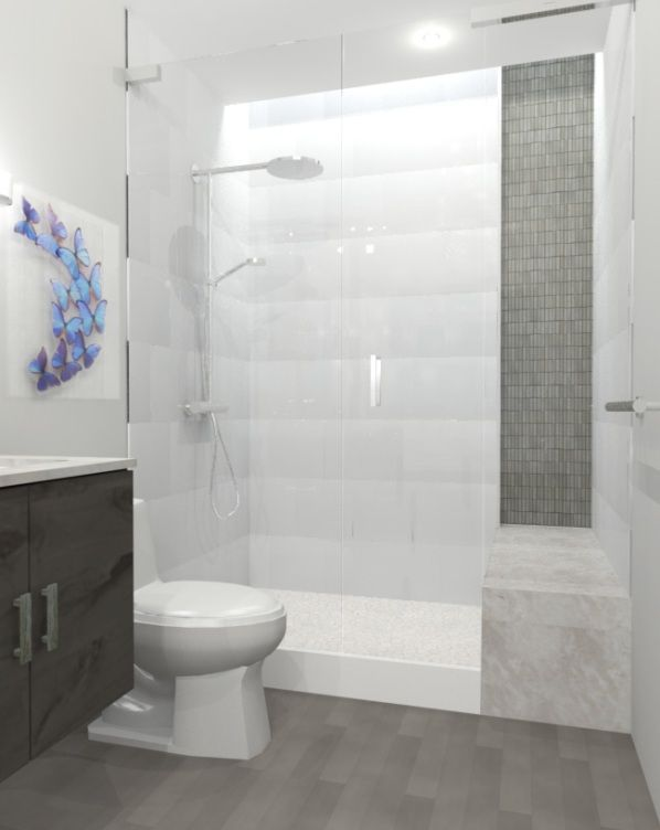 Bathroom White Tiles Ideas. Wood Planked Tile With Polished White Tile In Walk In Shower