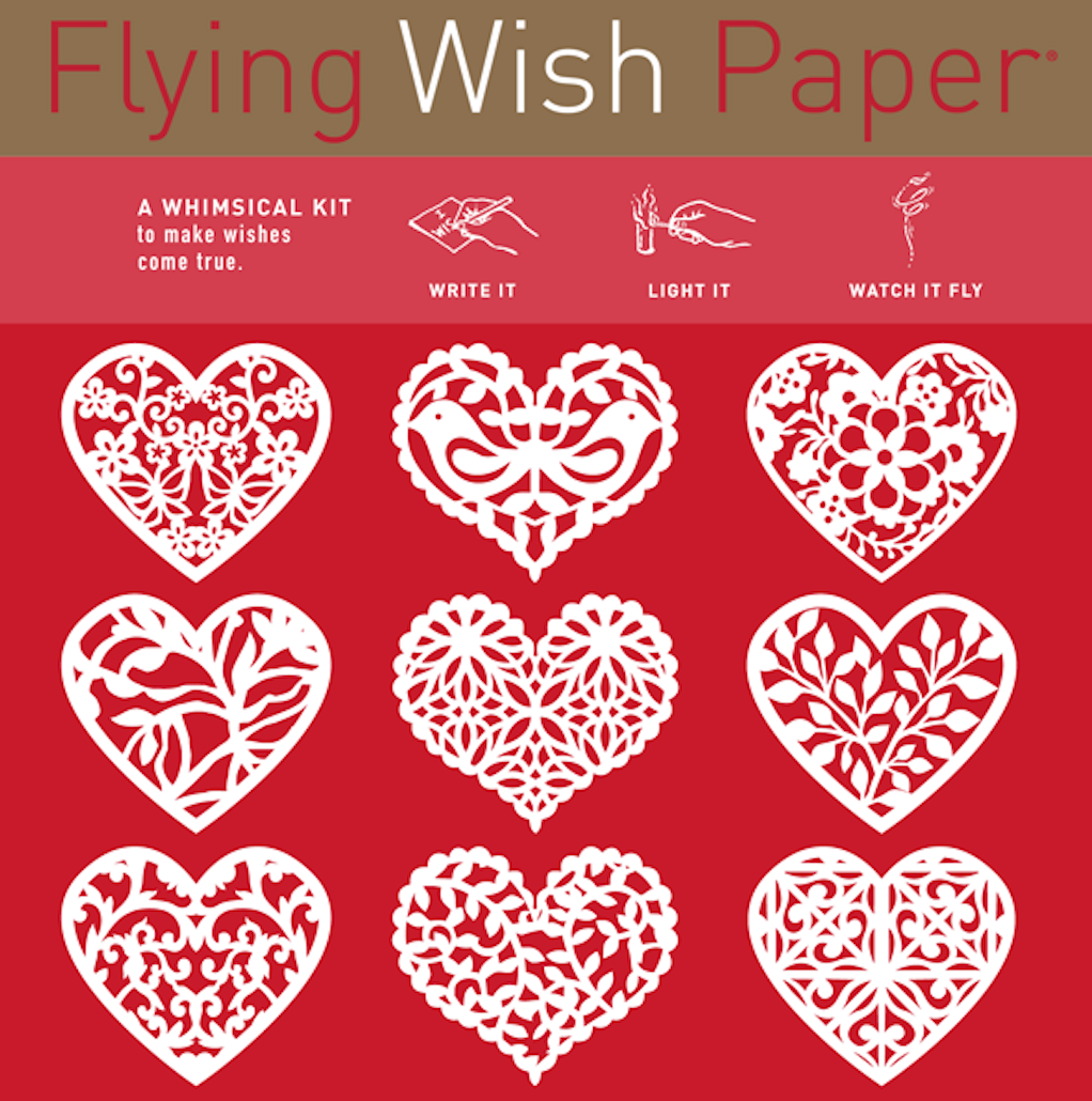 FREE LOVE from Flying Wish Paper just in time for Valentine's Day! Get 6 free mini kits with any order of $200 or more ($33 value!). Choose from 55 unique designs at wholesale.flyingwishpaper.com. Write your wish, light it on fire, and watch it fly! CODE: Love (Sponsored)
